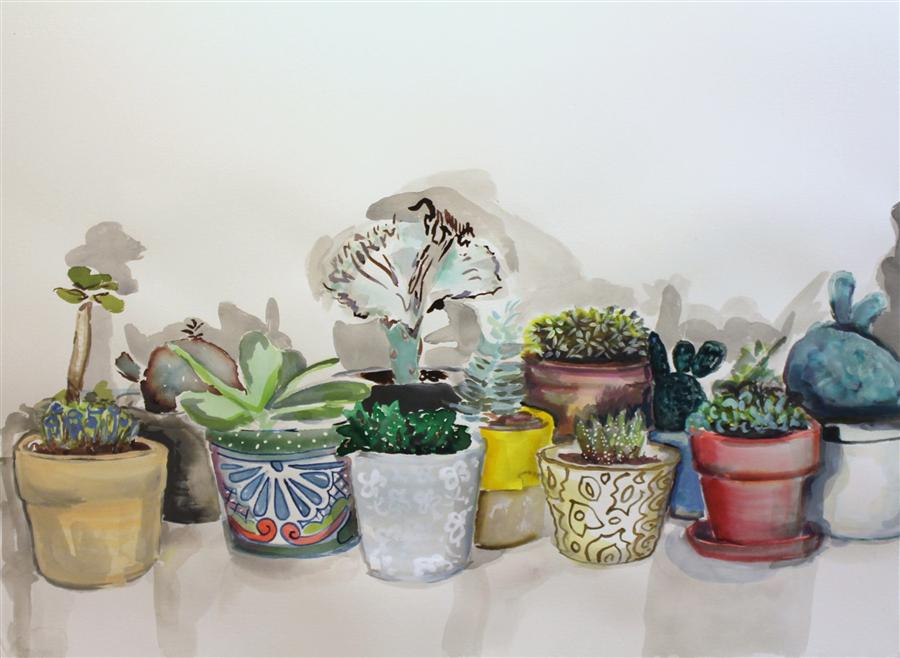 Original art for sale at UGallery.com | Succulent Summer Series 5 by MELINDA LASZCZYNSKI | $625 | Watercolor painting | 26' h x 35' w | http://www.ugallery.com/watercolor-painting-succulent-summer-series-5