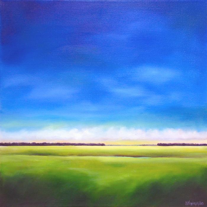 Original art for sale at UGallery.com | Blue Sky Marsh by NANCY HUGHES MILLER | $950 | Oil painting | 24' h x 24' w | http://www.ugallery.com/oil-painting-blue-sky-marsh