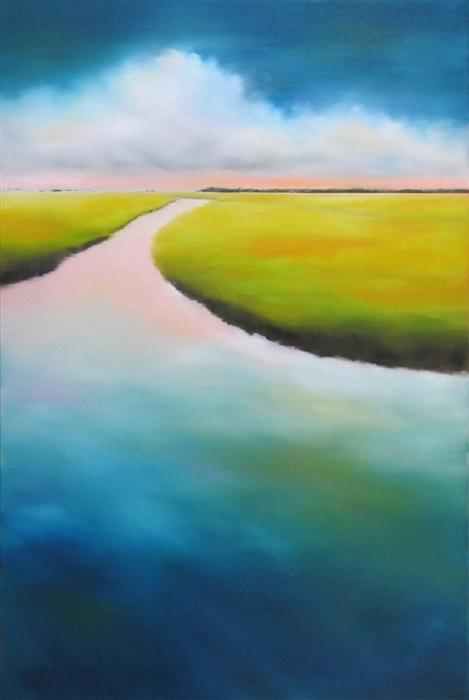 Original art for sale at UGallery.com | Inlet Marsh Cloud II- Commission by NANCY HUGHES MILLER | $1,550 | Oil painting | 36' h x 24' w | http://www.ugallery.com/oil-painting-inlet-marsh-cloud-ii-commission
