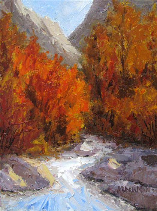 Original art for sale at UGallery.com | Ruby Creek by ROGER ALDERMAN | $500 | Oil painting | 12' h x 9' w | http://www.ugallery.com/oil-painting-ruby-creek