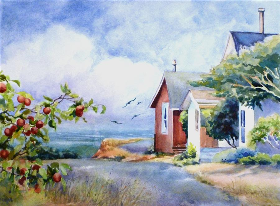 Discover Original Art by Catherine McCargar | Cottages by the Sea watercolor painting | Art for Sale Online at UGallery