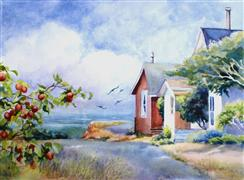 Architecture art,Realism art,Representational art,watercolor painting,Cottages by the Sea