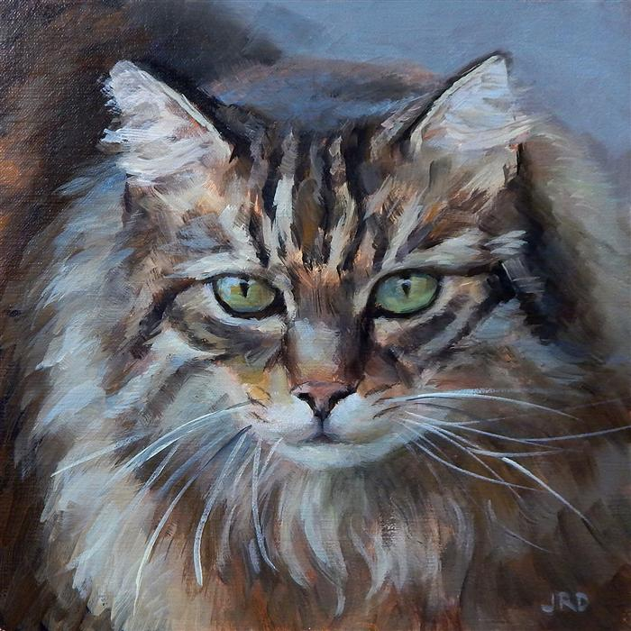 Original art for sale at UGallery.com | Fluffy Cat by J. DUNSTER | $300 | Oil painting | 10' h x 10' w | http://www.ugallery.com/oil-painting-fluffy-cat