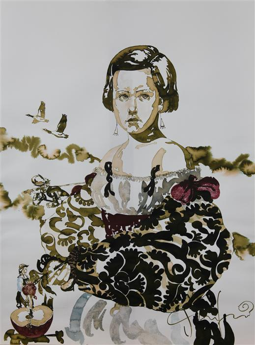 Original art for sale at UGallery.com | La Fille Mal Gardee (The Wayward Daughter I) by CARLOS GAMEZ DE FRANCISCO | $2,175 | Mixed media artwork | 24' h x 18' w | http://www.ugallery.com/mixed-media-artwork-la-fille-mal-gardee-the-wayward-daughter-i