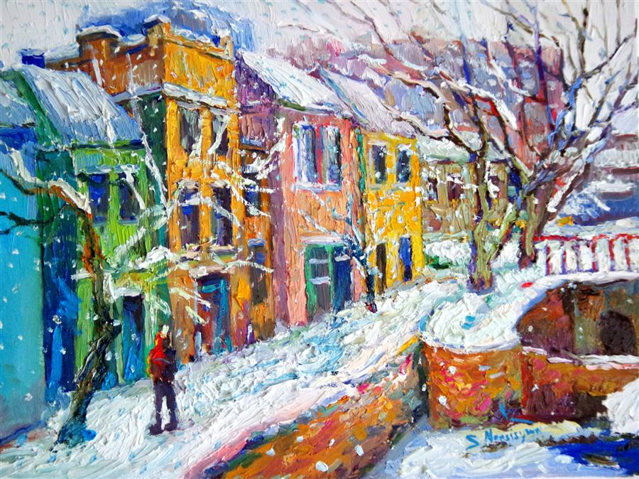 Discover Original Art by Suren Nersisyan | Snowing in Georgetown oil painting | Art for Sale Online at UGallery