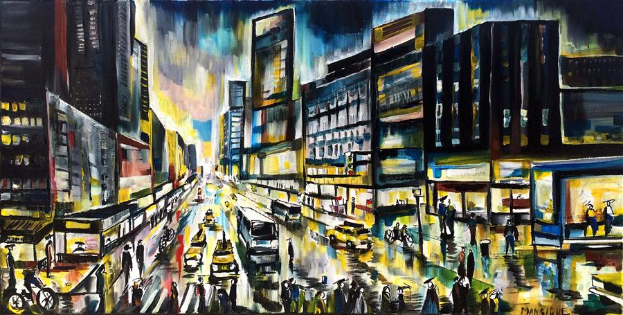 Original art for sale at UGallery.com | Saturday Night by PIERO MANRIQUE | $775 | Acrylic painting | 12' h x 24' w | http://www.ugallery.com/acrylic-painting-saturday-night-36058