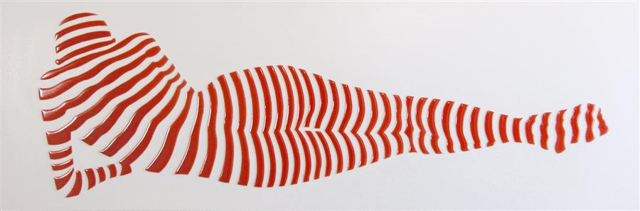 Original art for sale at UGallery.com | Stripe Pose #3 by PHILIPPE JESTIN | $1,525 | Mixed media artwork | 12' h x 36' w | http://www.ugallery.com/mixed-media-artwork-stripe-pose-3