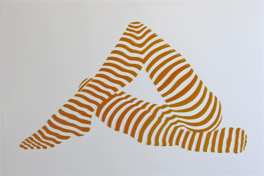 Original art for sale at UGallery.com | Stripe Pose #6 by PHILIPPE JESTIN | $1,600 | Mixed media artwork | 20' h x 30' w | http://www.ugallery.com/mixed-media-artwork-stripe-pose-6