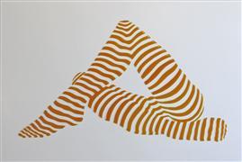 Nudes art,People art,Pop art,Representational art,mixed media artwork,Stripe Pose #6