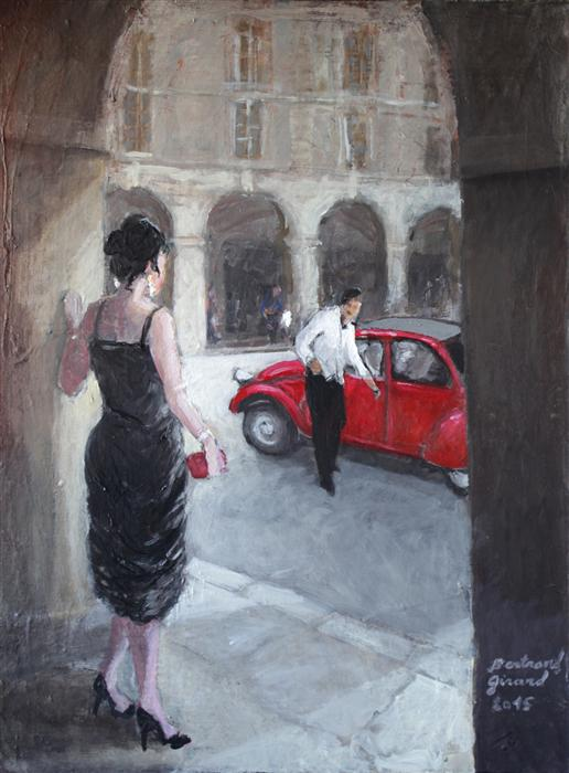 Discover Original Art by Bertrand Girard | Rendez-vous on Place des Vosges acrylic painting | Art for Sale Online at UGallery