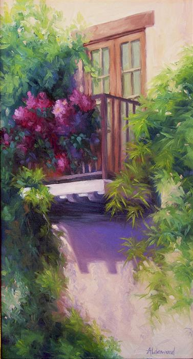 Discover Original Art by Sherri Aldawood | Balcony with Bougainvillea oil painting | Art for Sale Online at UGallery