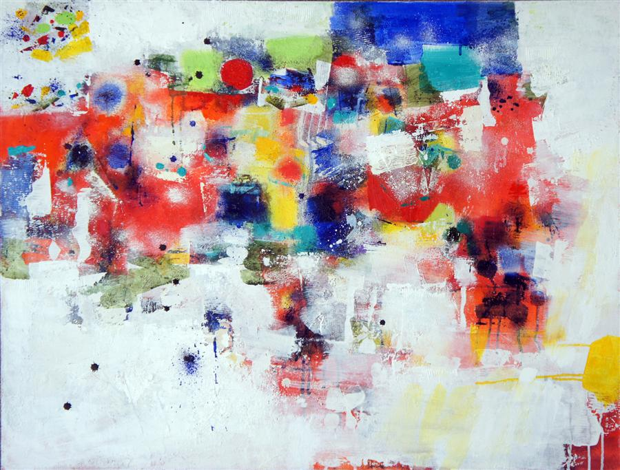Original art for sale at UGallery.com | Happy Hour by CHANGSOON OH | $2,175 | Mixed media artwork | 29' h x 38' w | http://www.ugallery.com/mixed-media-artwork-happy-hour