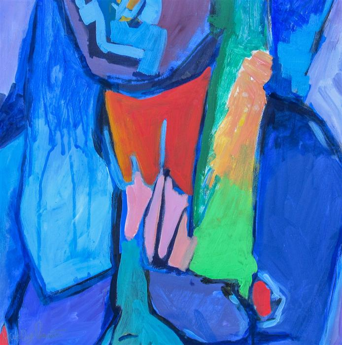 Original art for sale at UGallery.com | Abstract Figure Studio XIX by STEVEN PREWITT | $505 | Acrylic painting | 18' h x 18' w | http://www.ugallery.com/acrylic-painting-abstract-figure-studio-xix