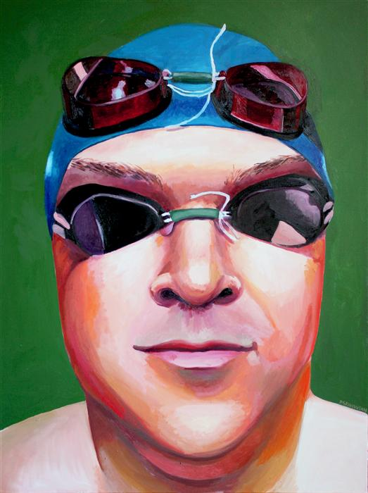 Discover Original Art by Rachel Srinivasan | Man Aquatics oil painting | Art for Sale Online at UGallery