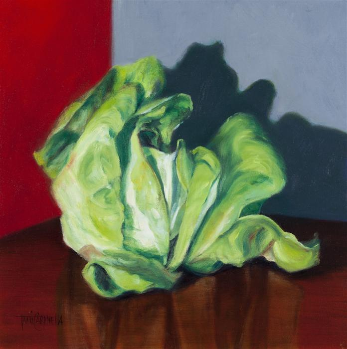 Original art for sale at UGallery.com | Head Collection, Butter Lettuce by TAMI CARDNELLA | $550 | Oil painting | 12' h x 12' w | http://www.ugallery.com/oil-painting-head-collection-butter-lettuce