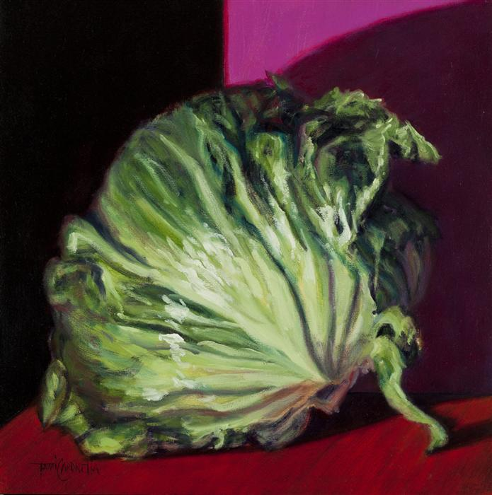 Original art for sale at UGallery.com | Head Collection, Head Lettuce by TAMI CARDNELLA | $550 | Oil painting | 12' h x 12' w | http://www.ugallery.com/oil-painting-head-collection-head-lettuce