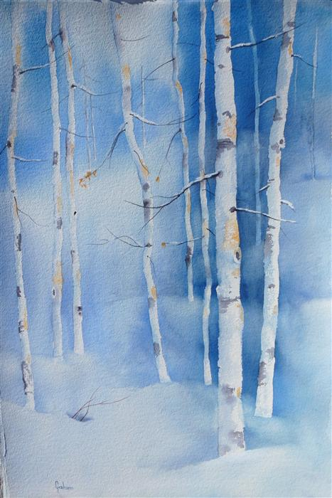 Discover Original Art by Nancy Graham | Colorado Winter watercolor painting | Art for Sale Online at UGallery