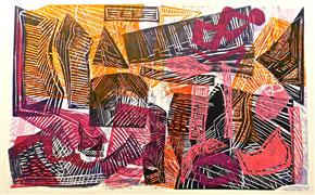 Expressionism art,Non-representational art,Primitive art,printmaking,Buried Treasure 3
