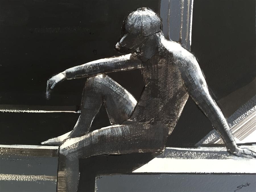 Original art for sale at UGallery.com | Man Thinking by SHILO RATNER | $625 | Mixed media artwork | 9' h x 12' w | http://www.ugallery.com/mixed-media-artwork-man-thinking