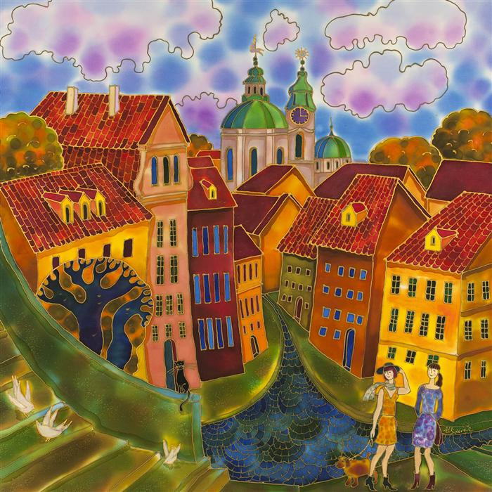 Discover Original Art by Yelena Sidorova | Last Summer Day, Prague mixed media artwork | Art for Sale Online at UGallery