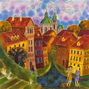 Architecture art,Fantasy art,Representational art,mixed media artwork,Last Summer Day, Prague