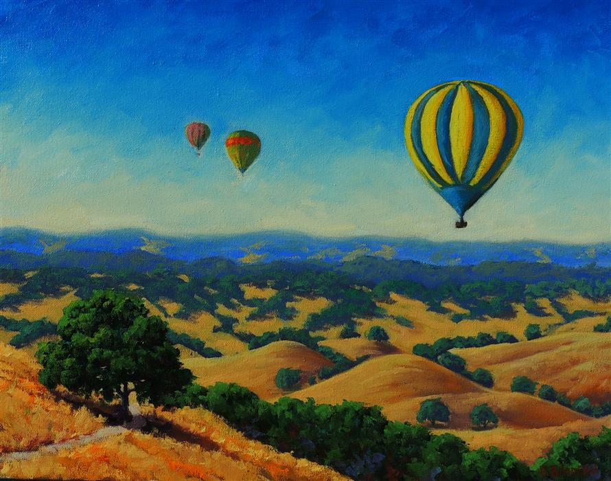 Discover Original Art by Steven Guy Bilodeau | Sonoma Balloons oil painting | Art for Sale Online at UGallery