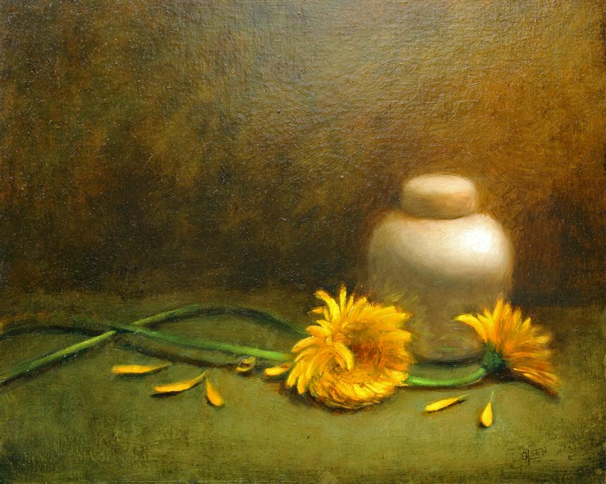 Original art for sale at UGallery.com | Yellow Dahlias with Ginger Jar by CHRISTY OLSEN | $575 | Oil painting | 16' h x 20' w | http://www.ugallery.com/oil-painting-yellow-dahlias-with-ginger-jar