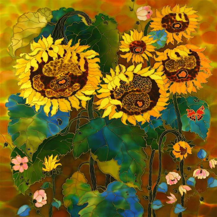 Discover Original Art by Yelena Sidorova | Sunflowers Fascination mixed media artwork | Art for Sale Online at UGallery