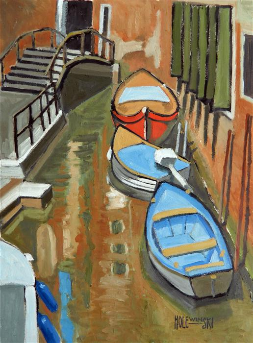 Original art for sale at UGallery.com | Boats in a Venetian Canal by ROBERT  HOLEWINSKI | $1,025 | Oil painting | 23' h x 17' w | http://www.ugallery.com/oil-painting-boats-in-a-venetian-canal