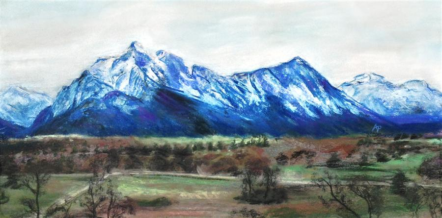 Original art for sale at UGallery.com | The Blue Alps by ANASTASIA PIMENTEL | $475 | Pastel artwork | 12' h x 24' w | http://www.ugallery.com/pastel-artwork-the-blue-alps