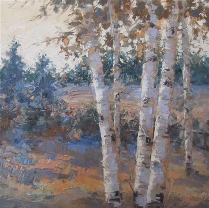 Discover Original Art by Tricia May | Beyond the Birch Trees oil painting | Art for Sale Online at UGallery