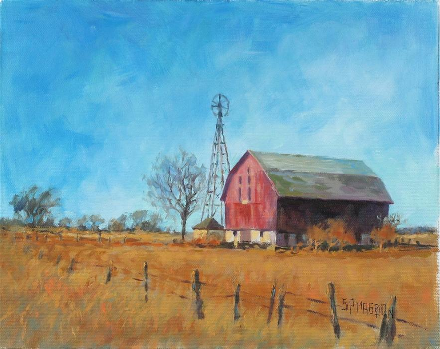 Discover Original Art by Suzanne Massion | Windmill Barn oil painting | Art for Sale Online at UGallery