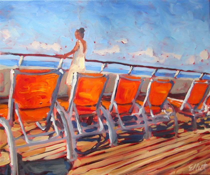 Discover Original Art by Elliot Coatney | Orange Chairs acrylic painting | Art for Sale Online at UGallery