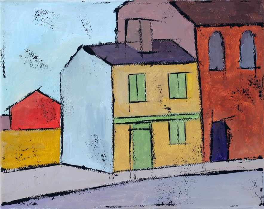 Original art for sale at UGallery.com | Yellow House by TANYA GRABKOVA | $350 | Acrylic painting | 8' h x 10' w | http://www.ugallery.com/acrylic-painting-yellow-house-36156