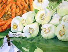 Still Life art,Cuisine art,Realism art,Representational art,watercolor painting,Lime Light on Fennel