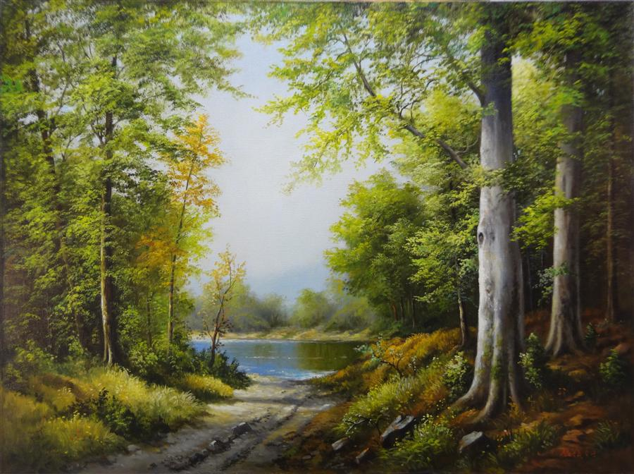 Discover Original Art by Nikolay Rizhankov | Lake in the Forest oil painting | Art for Sale Online at UGallery