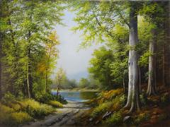Landscape art,Nature art,Classical art,Realism art,Representational art,oil painting,Lake in the Forest