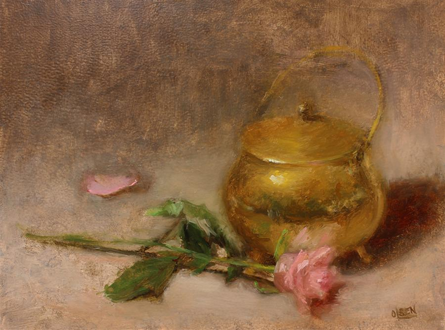 Original art for sale at UGallery.com | Brass with Pink Roses by CHRISTY OLSEN | $400 | Oil painting | 12' h x 16' w | http://www.ugallery.com/oil-painting-brass-with-pink-roses