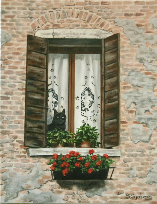 Original art for sale at UGallery.com | Venetian Cat by SUSAN SJOBERG | $750 | Acrylic painting | 14' h x 11' w | http://www.ugallery.com/acrylic-painting-venetian-cat