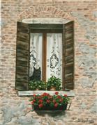 Architecture art,Animals art,Realism art,Representational art,acrylic painting,Venetian Cat
