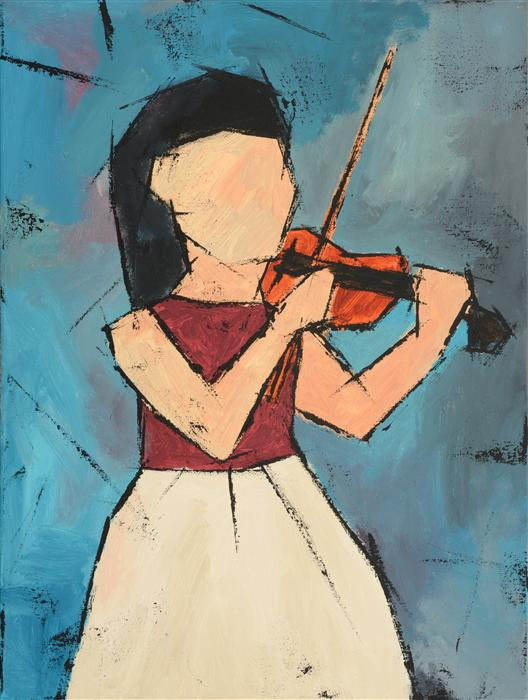 Discover Original Art by Tanya Grabkova | Girl with a Violin acrylic painting | Art for Sale Online at UGallery