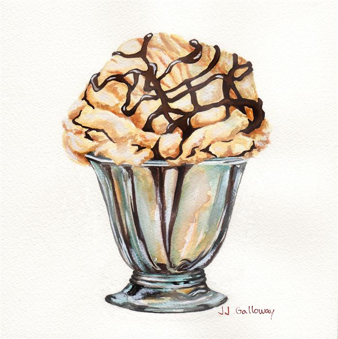 Original art for sale at UGallery.com | Sundae Delight by JJ GALLOWAY | $300 | Watercolor painting | 7.5' h x 7.5' w | http://www.ugallery.com/watercolor-painting-sundae-delight