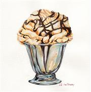 Still Life art,Cuisine art,Representational art,Vintage art,watercolor painting,Sundae Delight