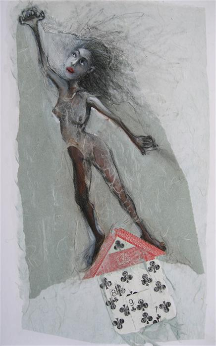 Original art for sale at UGallery.com | House of Cards by LIBBY RAMAGE | $575 | Mixed media artwork | 20' h x 12' w | http://www.ugallery.com/mixed-media-artwork-house-of-cards