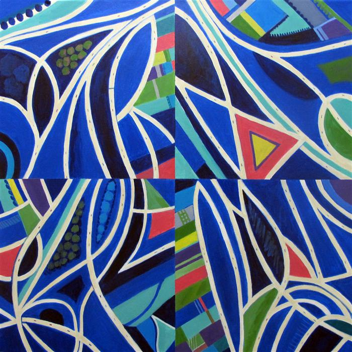 Original art for sale at UGallery.com | Blue Intersections, Quartered by TONI SILBER-DELERIVE | $3,525 | Acrylic painting | 30' h x 30' w | http://www.ugallery.com/acrylic-painting-blue-intersections-quartered