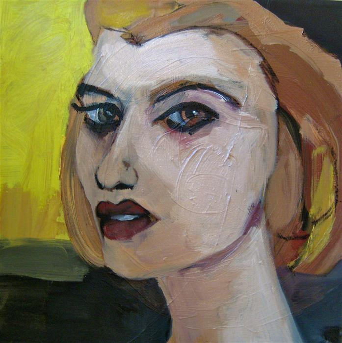 Original art for sale at UGallery.com | The S Girl by MALIA PETTIT | $350 | Oil painting | 12' h x 12' w | http://www.ugallery.com/oil-painting-the-s-girl