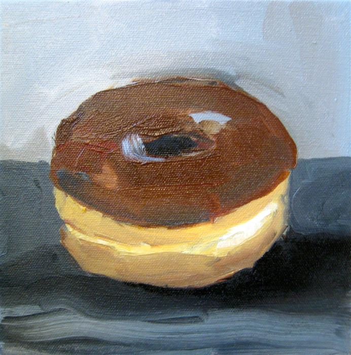 Original art for sale at UGallery.com | Chocolate Donut in Grey by MALIA PETTIT | $225 | Oil painting | 8' h x 8' w | http://www.ugallery.com/oil-painting-chocolate-donut-in-grey