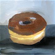 Still Life art,Cuisine art,Representational art,oil painting,Chocolate Donut in Grey