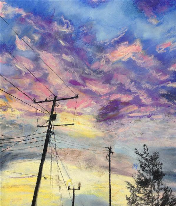 Original art for sale at UGallery.com | Telephone Poles by ANASTASIA PIMENTEL | $250 | Pastel artwork | 13' h x 11' w | http://www.ugallery.com/pastel-artwork-telephone-poles