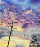 Impressionism art,Landscape art,Representational art,pastel artwork,Telephone Poles